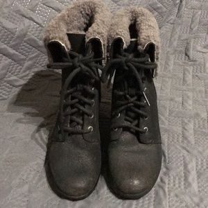 UGG Australia Black Zea Shearling Wedge Ankle Boot